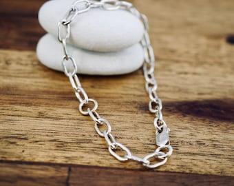 Silver link bracelet with solid 9ct rose gold link | Simple sterling silver bracelet | Handmade | Mothers Day gift