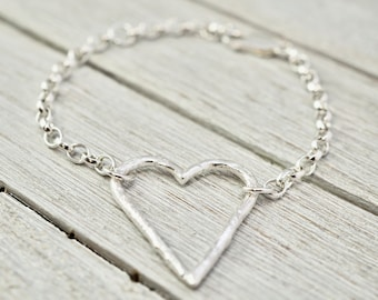 Silver heart bracelet   Large silver heart bracelet   Sterling silver textured heart bangle   Handmade silver jewellery   Gift for her