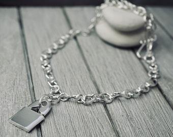 Punk locket necklace | Kristen Stewart Punk Locket Pendant | Sterling Silver Necklace | Multi-shape links | Gift for her | Handmade Jewelry