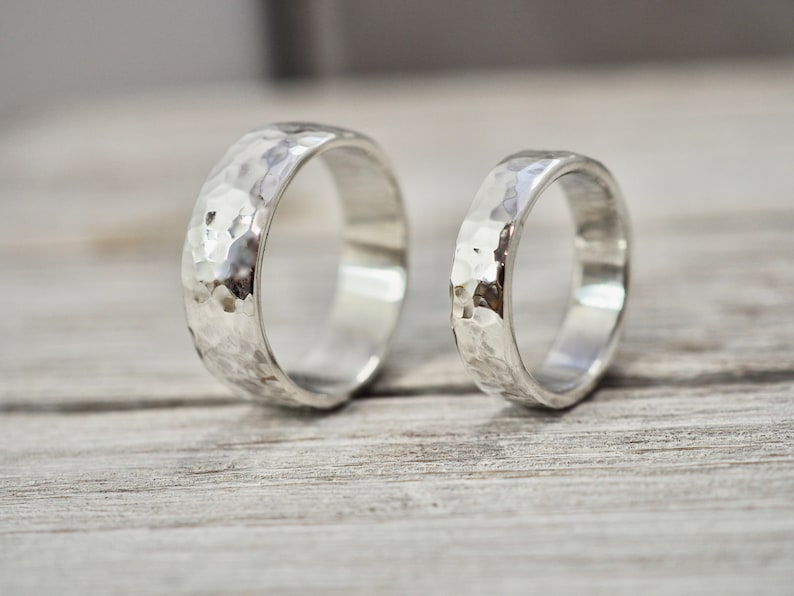 Matching heavy silver wedding bands  Chunky silver wedding Hammered