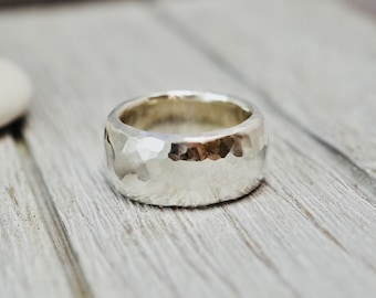 Chunky sterling silver ring   Heavy silver ring   Hammered silver ring   Very heavy solid silver ring   Handmade silver jewellery