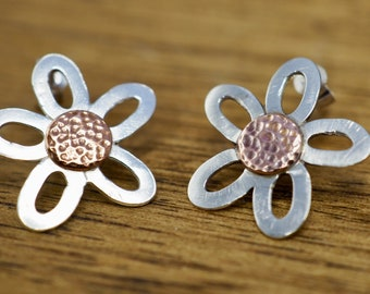 Silver and copper daisy earrings   925 Sterling Silver flower studs   Handmade silver jewellery   Gift for her   Mothers day gift