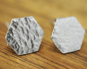 Textured hexagon silver studs   Sterling silver earrings   Handmade silver jewellery   Gift for her   Mothers day gift    Gift for mum
