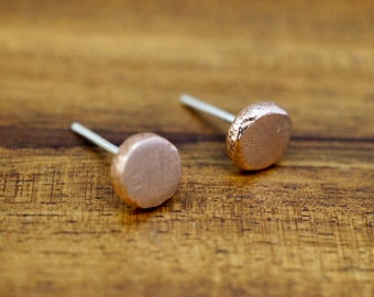 Little copper stud earrings | Recycled solid copper earrings with sterling silver posts | Handmade | Gift for her