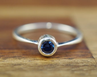 Sterling silver ring with blue stone   Handmade silver jewellery