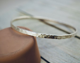Wide stackable sterling silver bangle   Hammered silver bangle   Handmade   Gift for her