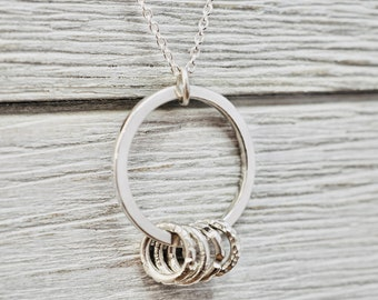 40th birthday gift for women | Sterling silver four linked circle necklace | 40th birthday jewellery | 40th birthday necklace | Gift for her