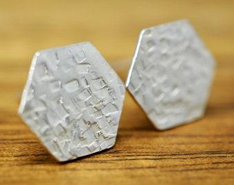 Hexagon 925 sterling silver earrings   Hammered silver studs   Handmade silver earrings   Gift for her