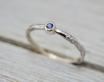 Delicate tanzanite stacking ring | Little silver stacker with Tanzanite | Handmade sterling silver ring | Birthstone jewellery
