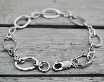 Oval link sterling silver bracelet | Textured silver bracelet | Handmade Sterling silver jewellery | Mothers day gift  | Gift for her