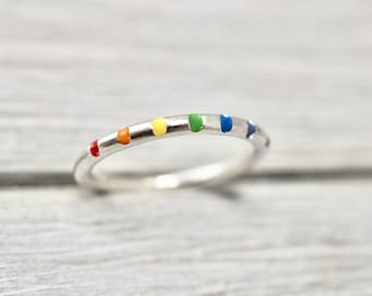 Rainbow ring   Sterling silver ring   Silver rainbow stacker ring    Sterling silver stacker ring   Handmade silver jewellery   Gift for her