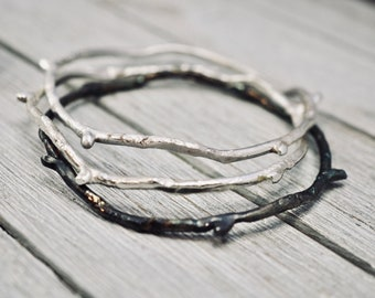 Sterling silver twig bracelet   925 Sterling silver bangle   Handmade silver bangle    Gift for her   Mothers day gift   Gift for mum