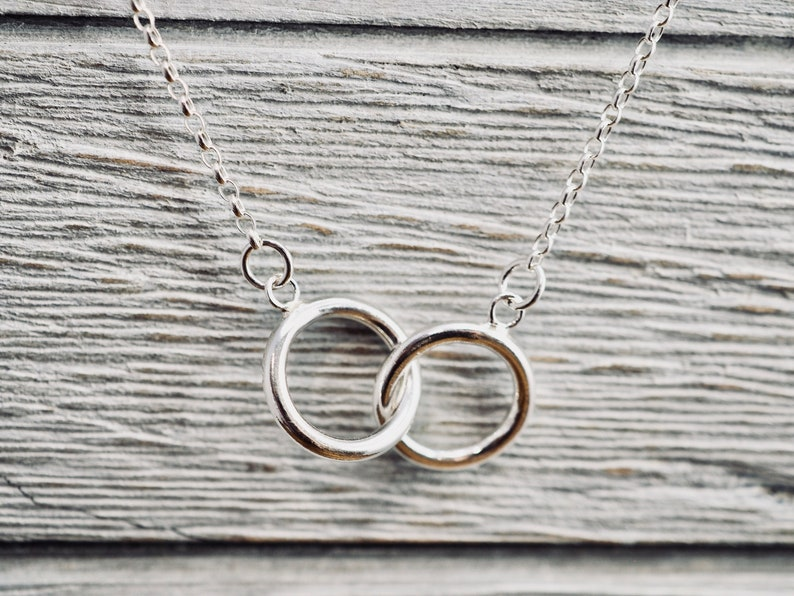 Interlocking circle sterling silver necklace  Double circles image 0