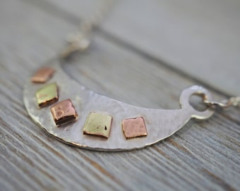 Mixed metal necklace   925 Sterling silver, copper & brass   Handmade silver jewellery