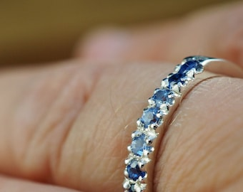 Blue sapphire ring | 925 sterling silver | French pave setting | Handmade | Engagement ring | Wedding jewellery