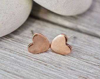 Little copper heart studs   Pure copper heart earrings   Sterling silver posts   Handmade copper jewellery   Gift for her   Best friend gift