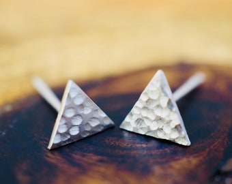 Small triangle silver studs   Tiny textured sterling silver earrings   Handmade   Bridesmaid gift   Gift for mum   Best friend gift