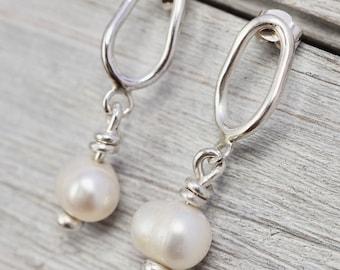 Pearl earrings   Freshwater pearl drop earrings   Sterling silver pearl earrings   Handmade pearl jewellery   Pearl birthday gift