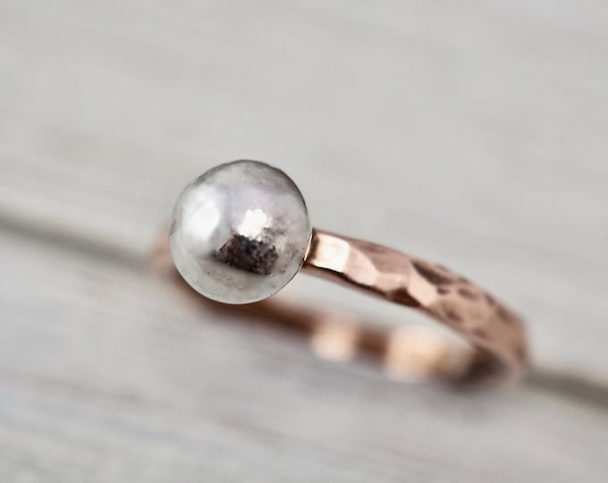 Featured listing image: Copper ring with silver ball | Copper stacking ring | Handmade copper jewellery | Copper stacker ring | Hammered copper ring | Gift for her