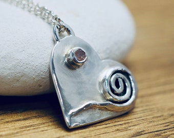 Silver heart pendant with pink spinel | Love heart necklace with spinel | Sterling silver jewellery | Valentine gift for her | Gift for wife