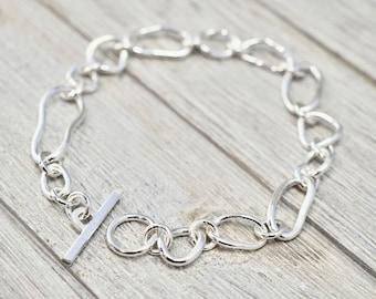 Asymmetrical link silver bracelet | Sterling silver bracelet | Handmade silver jewellery | Gift for her | Gift for wife | Bridesmaid gift