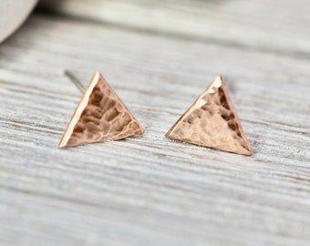 Tiny copper triangle studs   Copper triangle earrings   Handmade copper jewellery   Gift for her   Best friend gift