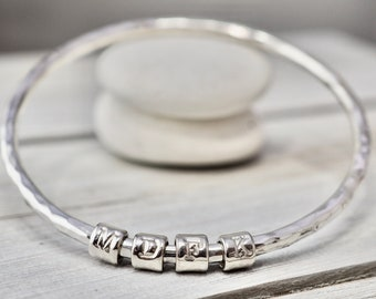 Heavy silver initial bangle   Solid sterling silver name bracelet   SIlver initial charm bangle   Handmade silver jewellery   Gift for mum