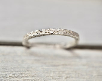 Stacking silver ring   Hammered 2mm silver ring   Handmade sterling silver jewellery   Silver stacker   Gift for her