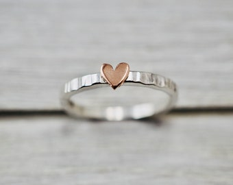 Little copper heart ring   2mm silver stacker ring with heart   Heart ring   Handmade silver jewellery   Best friend gift   Gift for her