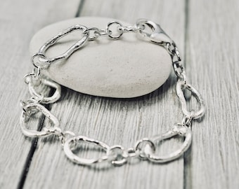 Organic sterling silver bracelet | Sterling silver twig link bracelet | Handmade silver jewellery | Gift for her | Mothers day gift