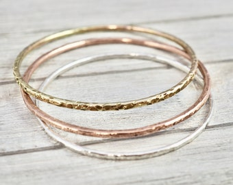 Silver, copper and brass stacking bangle set   Set of mixed metal stacking bangles   Hammered bangles   Gift for her   Best friend gift