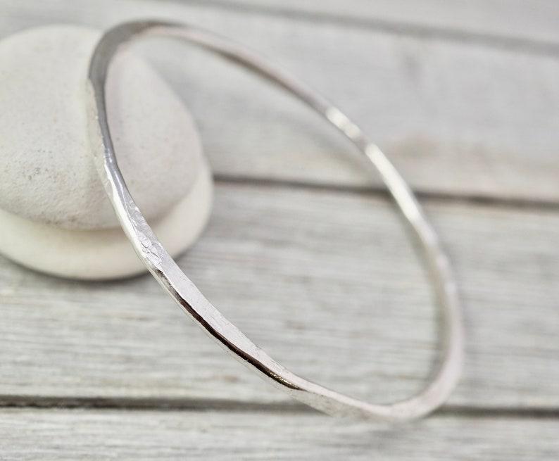 Handmade silver bracelet Sterling silver hammered bangle Gift for wife Gift for her Silver wedding gift Silver hammered bangle