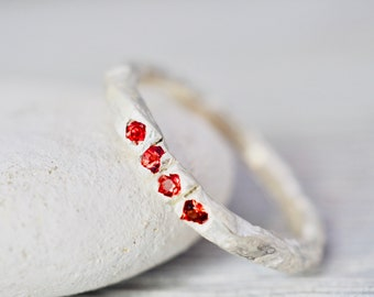 Red sapphire stacking ring   Sapphire ring   Multi-sapphire stacker   Handmade Sterling silver jewellery   Gift for her   Gift for wife