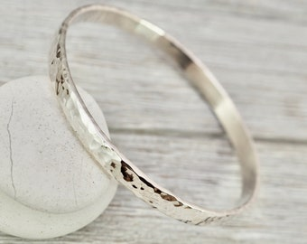 Heavy, wide silver bangle   Chunky Sterling silver hammered bangle   Wide silver bracelet   Handmade silver jewellery   Gift for her