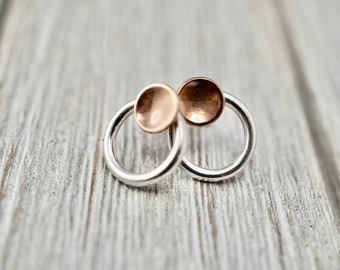 Little silver and copper studs   Sterling silver and copper earrings   Circle earrings   Best friend gift   Handmade silver jewellery