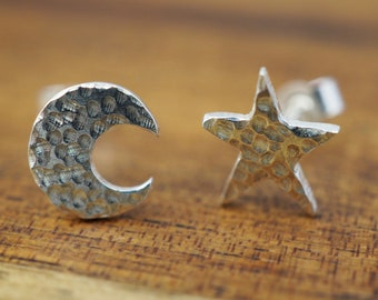Silver moon and star studs   925 sterling silver earrings   Mothers Day gift