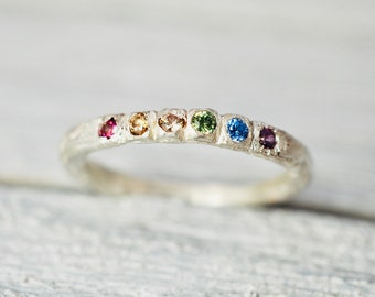 Rainbow gemstone stacking ring   Multi-colour gemstone stacker   Handmade sterling silver ring   Gift for her   Engagement ring