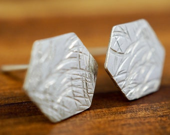 Small hexagon silver studs   Textured sterling silver earrings   Handmade    Mothers Day gift