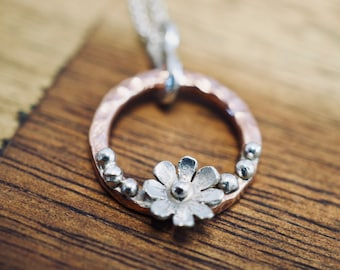 Pretty copper flower necklace | Floral necklace with copper and sterling silver | Handmade silver jewellery | Gift for her | Valentine day