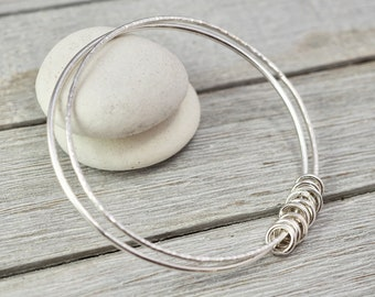 Silver circles bangle   Multi-link sterling silver stacking bangle   Sterling silver bangle   Handmade jewellery    Gift for her