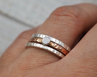 Silver and copper stacking rings   Sterling silver and pure copper stackers   Hammered stacker rings   Copper jewellery   Handmade jewellery