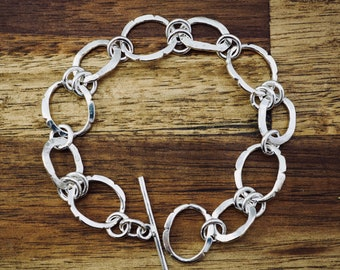 Textured silver link bracelet | Unique sterling silver bracelet | Handmade silver jewellery | Gift for her