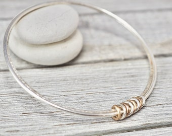Double sterling silver bangle with rose gold and silver links   Sterling silver bracelet   Handmade silver jewellery   Gift for her
