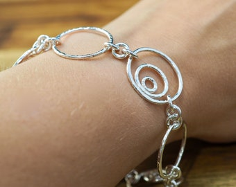 Sterling silver bracelet with large circles  | Hammered multi-circle silver bracelet | Handmade silver bracelet | Bridesmaid gift