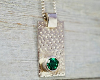 Emerald pendant | Emerald sterling silver necklace | May birthstone pendant | Birthday gift for women | Bridesmaid gift | Gift for wife