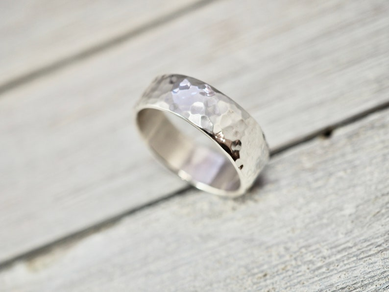 Mens heavy sterling silver ring  Silver wedding ring  Heavy Hammered
