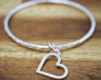 Silver bangle with heart charm   Sterling silver hammered bangle   Copper wedding gift   Handmade   Gift for her   Perfect Valentine gift