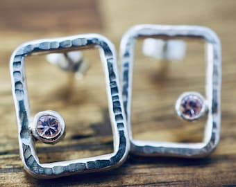 Silver square studs with pink CZs   Sterling silver earrings   Handmade earrings   Gift for her   Mothers day gift   Gift for mum