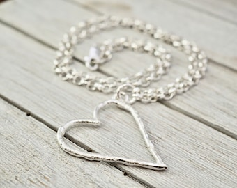 Chunky silver heart pendant   Silver heart necklace   Sterling silver handmade Jewellery   Gift for wife   Girlfriend gift   Valentine gift
