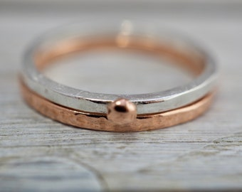 Silver and copper stackable rings | Copper and Sterling silver textured stacking rings | Handmade jewellery
